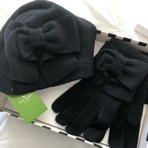 NEW Kate Spade ♠️ Bow Hat & Gloves set